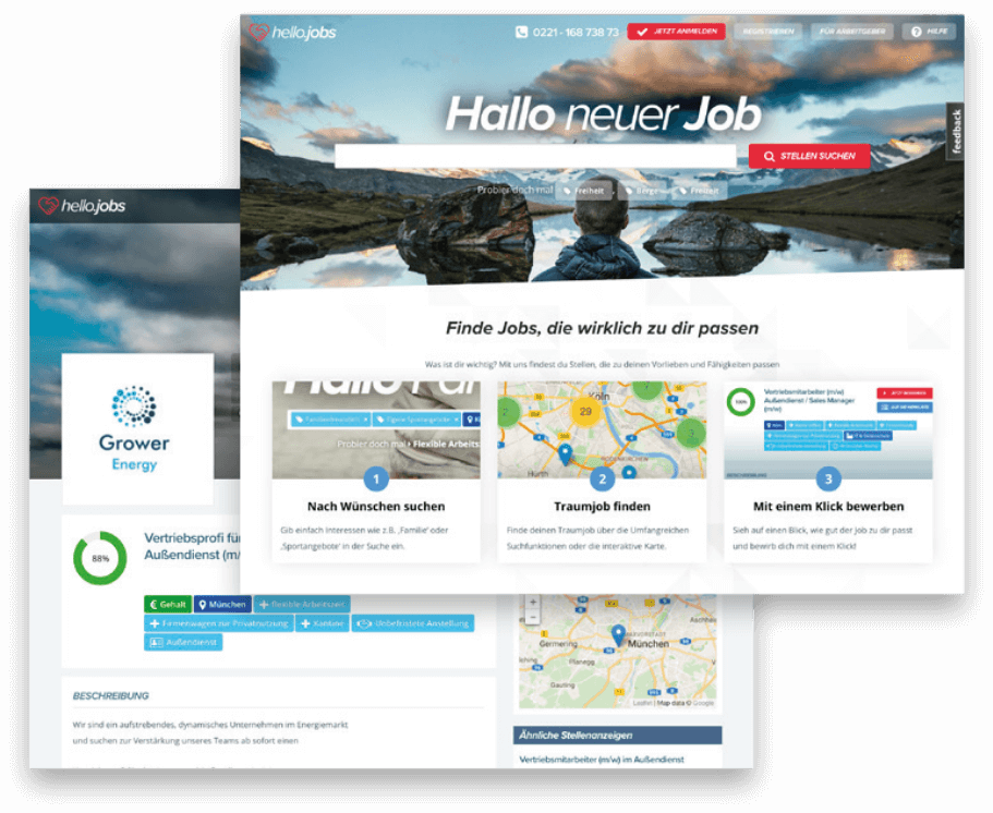 Intelligente Matchingfunktionen bei hello.jobs